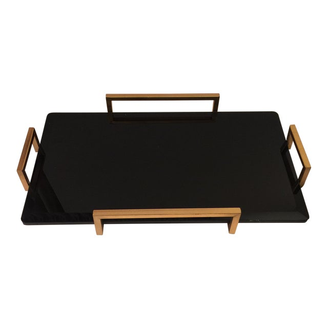 Gold Metal Handled Black Beveled Glass Tray - Image 1 of 8