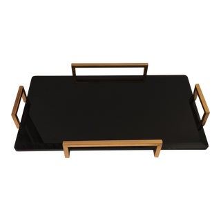 Gold Metal Handled Black Beveled Glass Tray