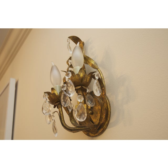 Image of Crystal & Aged Brass Sconces - A Pair