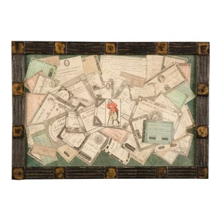 A charming collage of antique French monetary assignments set within a tramp art style frame from England c. 1950.