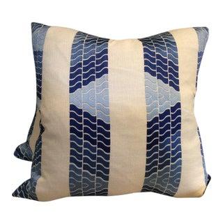 """Brunschwig & Fils Blue """"Clouds"""" Embroidered Linen Pillows - a Pair"""
