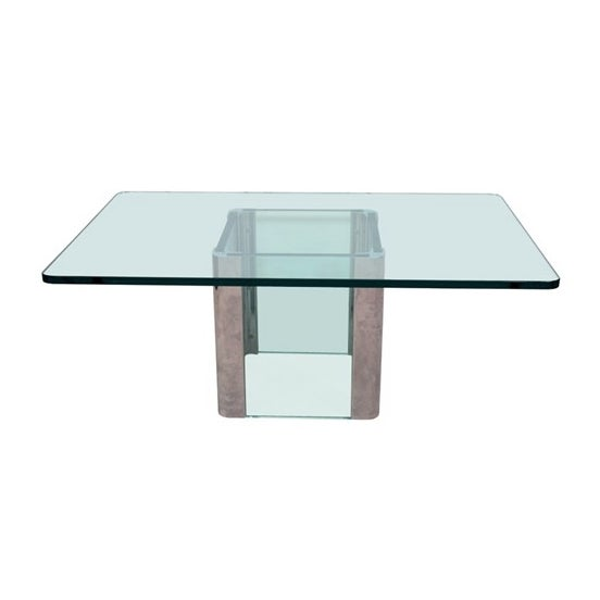 Mid-Century Glass & Chrome Coffee/Cocktail Table - Image 1 of 7