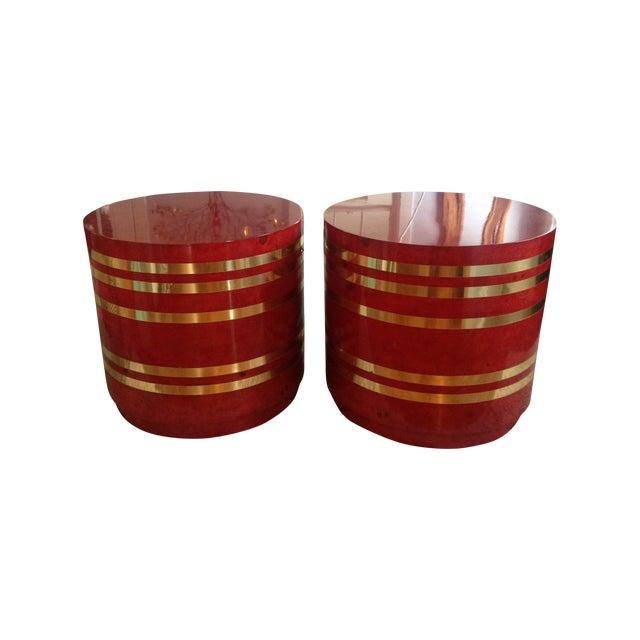 Hollywood Regency Red Burled Drum Tables - Pair - Image 1 of 7