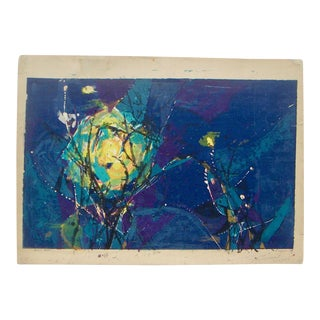Abstract Expressionist Moon Lithograph