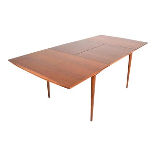 Mid-Century Modern Walnut Dining Table with Built in Extension