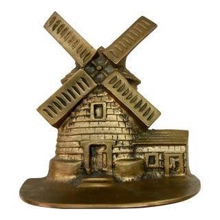 Vintage Brass Windmill Book End Doorstop