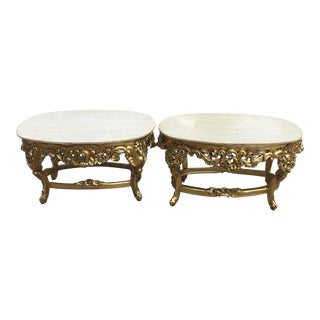 Rococo Marble & Gilt End Tables - A Pair