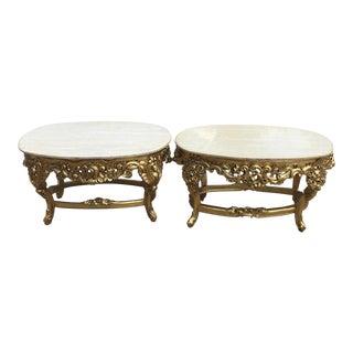 Rococo Marble & Gilt End Tables - A Pair