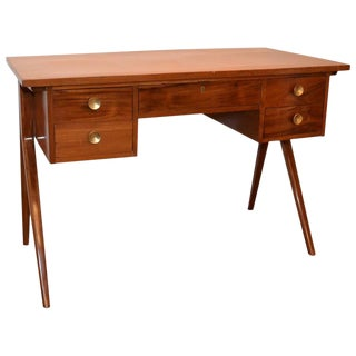 Argentinian Mid-Century Modern Writing Table or Desk with Brass Pulls