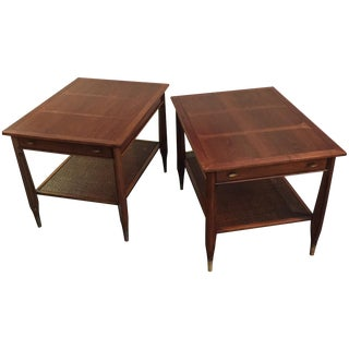 Mid-Century Imperial Walnut Side Tables - Pair