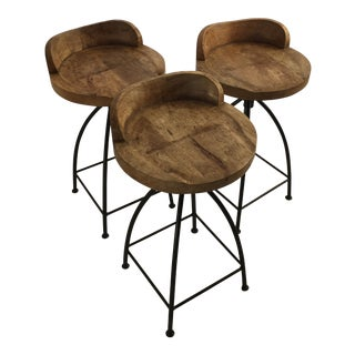 Wood & Iron Counter Stools - Set of 3