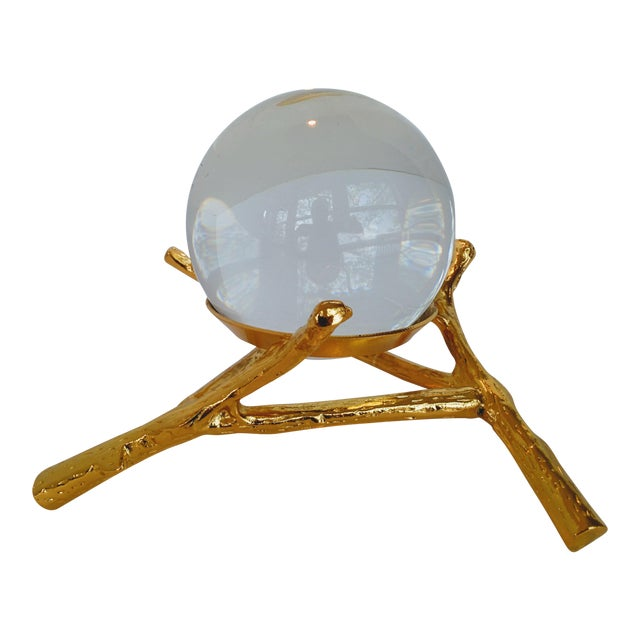 Crystal Orb With Gold Base - Image 1 of 9