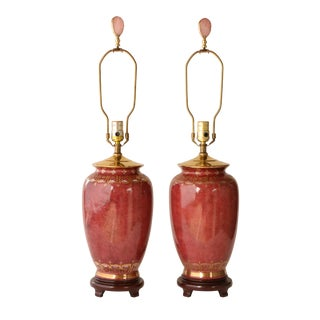 Oxblood Style Gilded Table Lamps, A Pair