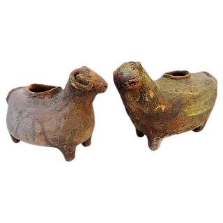 Terra Cotta Sheep Vessels - A Pair
