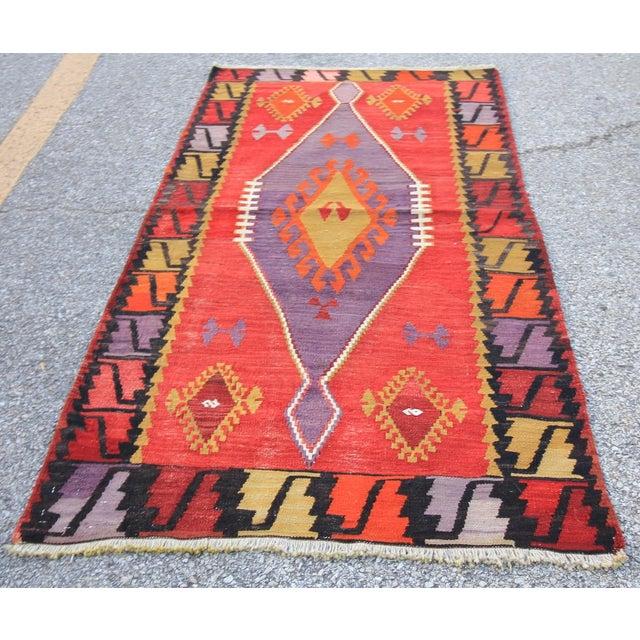 Vintage Turkish Tribal Oushak Kilim Rug
