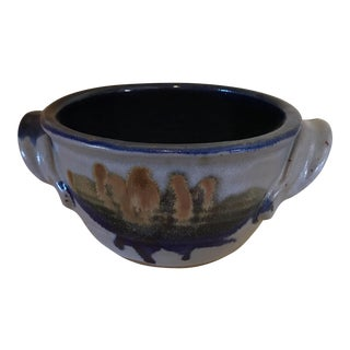 Vintage Studio Pottery Blue & Gray Bowl by Ayers