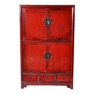 Chinese Red-Lacquered Display Cabinet with Restoration