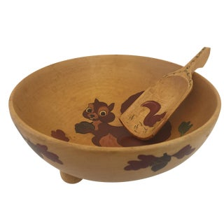 Hand-Carved Squirrel Nut Dish With Scoop