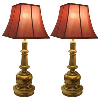Neoclassical Brass Table Lamps - A Pair
