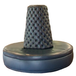 Blue-Grey Leather Round Banquette