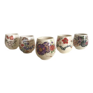 Vintage Japanese Mid Century Porcelain Miniature Floral Sake Cups - Set of 5