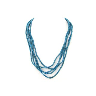 5 Strand Turquoise Glass Padre Trade Bead Necklace