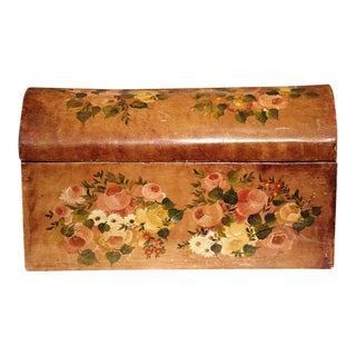 19th Century French Hand-Painted Floral Box