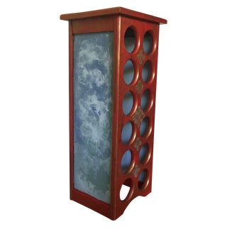 Kelly Mishele Red Wood, Glass & Metal Wine Rack