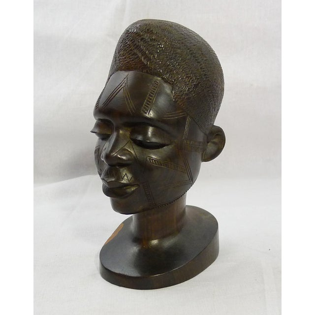 Vintage Hand-Carved African Ebony Head - Image 2 of 6