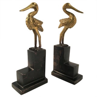 1960s Vintage Chinoiserie Crane Brass/Marble Bookends - Pair