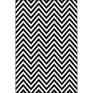Chevron Rug Black and White 6'8''x 10'