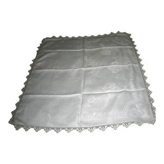 Vintage White Damask Tablecloth/Runner