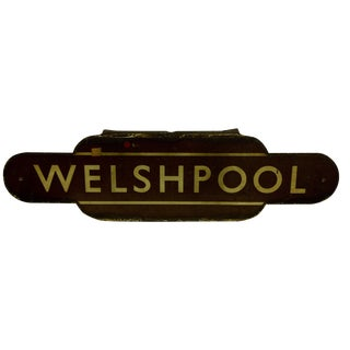 "Vintage British Railway ""Welshpool"" Sign"