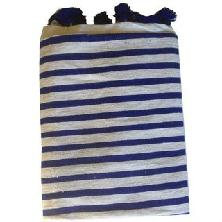 Navy Striped Moroccan Blanket with Tassels