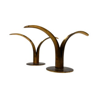 Ibe Konst Brass Lily Candleholders - A Pair