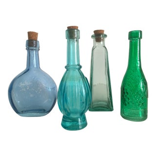 Vintage Miniature Blue & Green Glass Bottles - Set of 4
