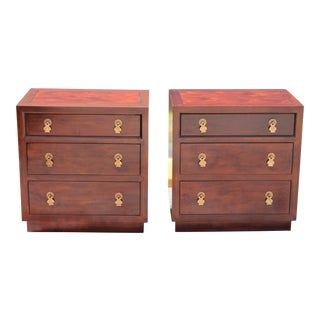 Henredon Cherry Chinoiserie Nightstands - A Pair