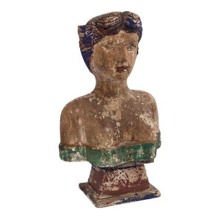 Carved Wooden Polychrome Bust of a Woman