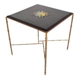 Mexican Modernist Center Table in Brass , Wood & Malachite, Pepe Mendoza Square