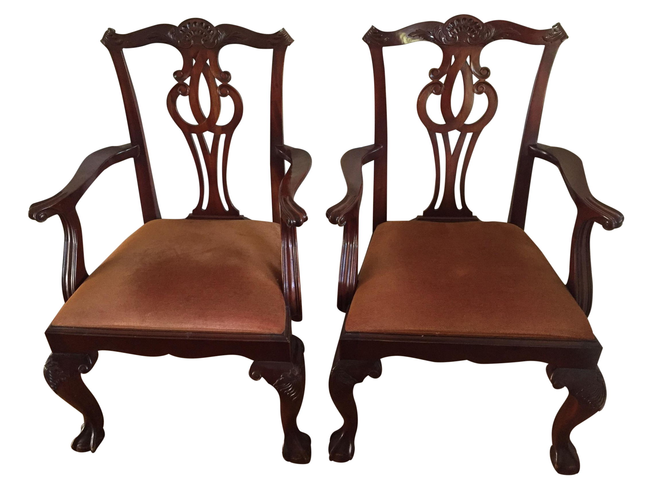Baker Georgian 4643 Brown Arm Chairs A Pair Chairish
