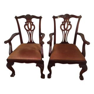 Baker Georgian 4643 Brown Arm Chairs - A Pair