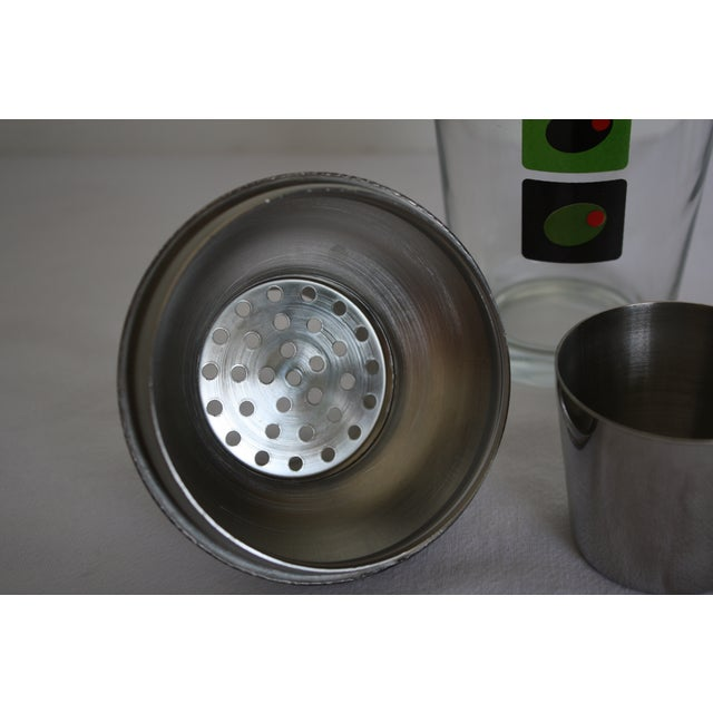 Image of Mid-Century Olive Motif Glass Martini Shaker