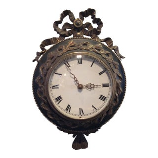 French Antique Bronze Mounted Wall Clock