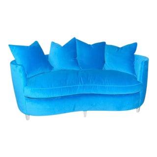 1960's Henredon Turquoise Velvet Sofa