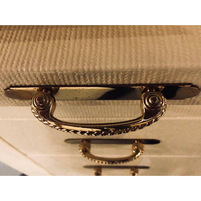 Karl Springer Style Linen Wrapped Commodes or Chests - A Pair - Image 7 of 11