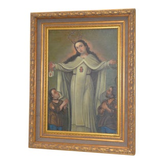 "Spanish Colonial Oil Painting ""Blessed Virgin"" Early 20th C."