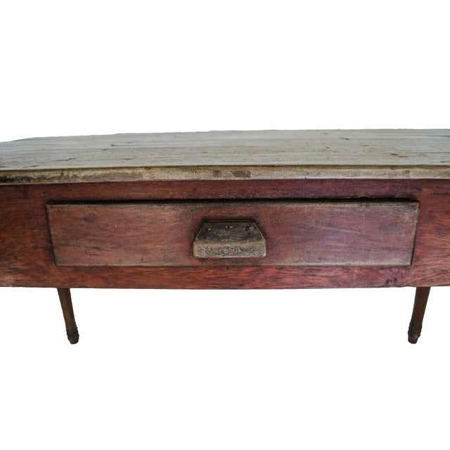Image of Vintage Farm Table with a Single Drawer