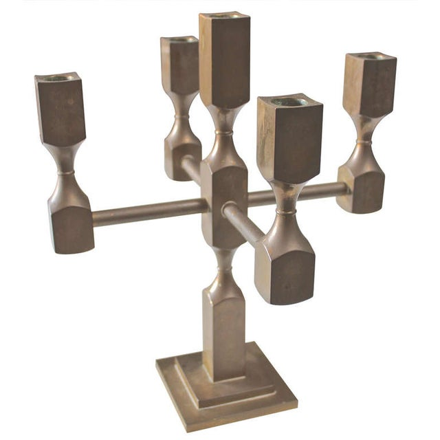 Image of Solid Brass Modernist Candelabra