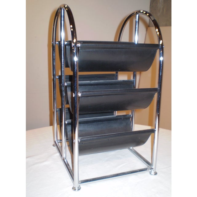Chrome & Leather Wine Rack - Image 3 of 3