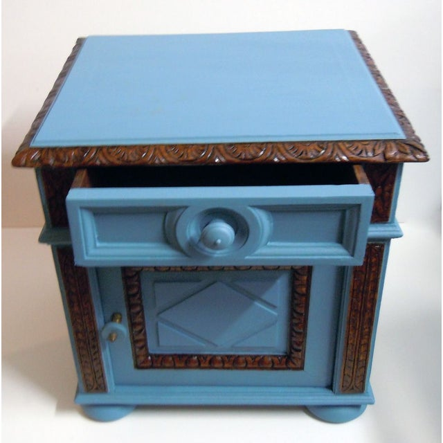 Blue Painted Mid-Century Nightstand - Image 4 of 9